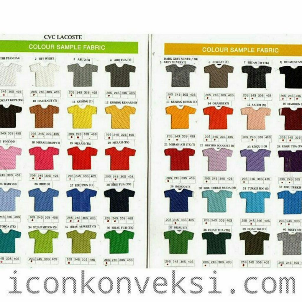 WARNA BAHAN POLO SHIRT